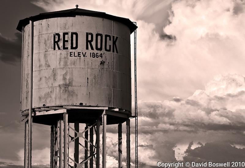 A water tank along the railroad tracks near Red Rock, Arizona.