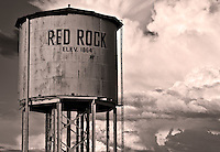 A water tank along the railroad tracks near Red Rock, Arizona.
