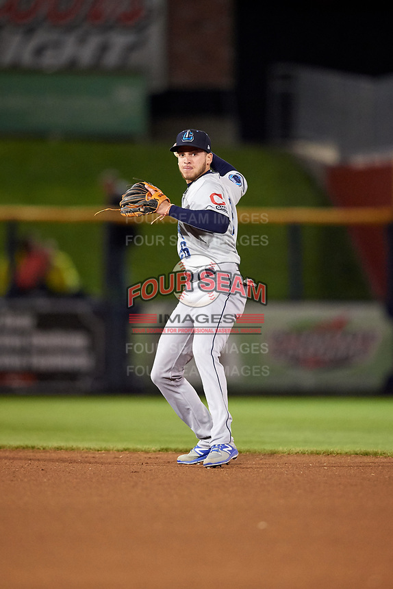 Lake County Captains second baseman Alexis Pantoja (26) throws to first base during a game against the Quad Cities River Bandits on May 6, 2017 at Modern Woodmen Park in Davenport, Iowa.  Lake County defeated Quad Cities 13-3.  (Mike Janes/Four Seam Images)
