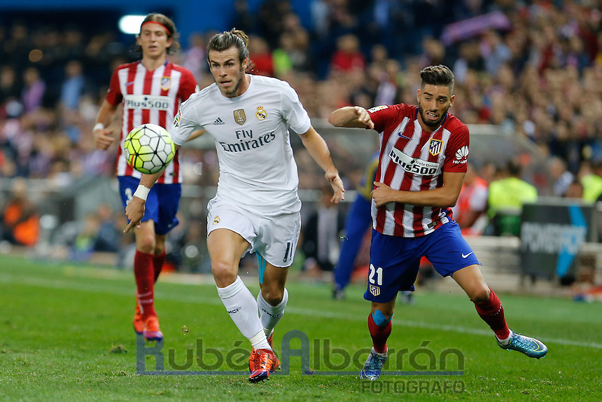 Real Madrid´s Welsh forward Gareth Bale and Atletico Madrid´s Carrasco