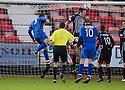 Stranraer's Frank McKeown (5) scores their second goal.