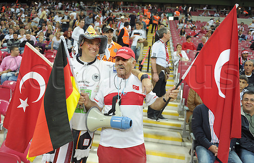 07.10.2011 Istanbul Turkey.  Turkish and German soccer fans pose prior the match between Turkey and Germany at the Turk Telekom Arena.