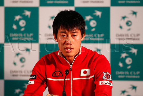 04.03.2016. Barclaycard Arena, Birmingham, England. Davis Cup Tennis World Group First Round. Great Britain versus Japan. Kai Nishikori of Japan during his post match press conference after his straight sets win over Great Britain's Dan Evans.