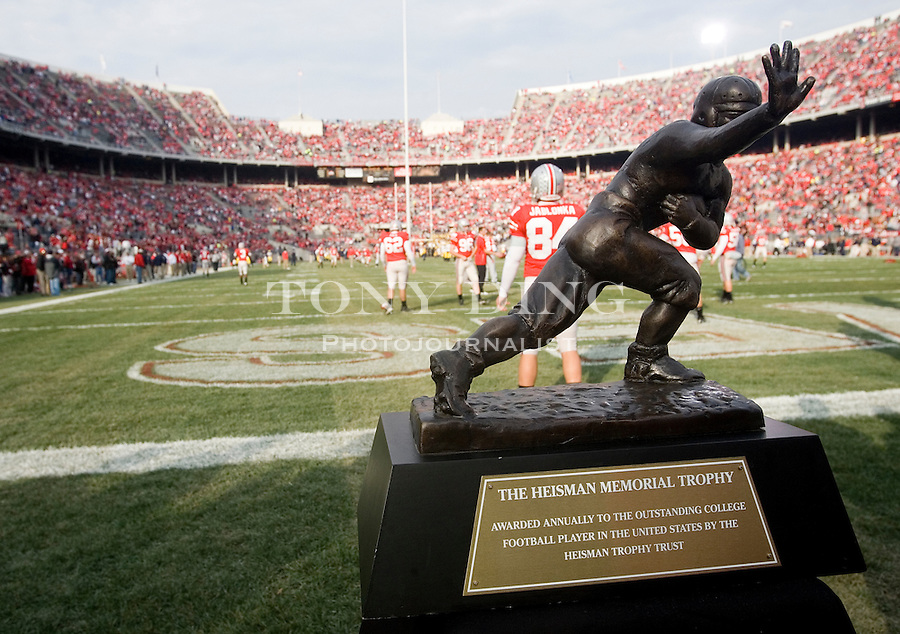 18 Nov 2006: A model of the Heisman Trophy is on display next to the field before the start of Ohio State's 42-39 win over Michigan in a college football game at Ohio Stadium in Columbus, OH.