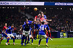 Diego Roberto Godin Leal and Filipe Luis of Atletico de Madrid competes for the ball with Athletic de Bilbao players during the La Liga 2018-19 match between Atletico de Madrid and Athletic de Bilbao at Wanda Metropolitano, on November 10 2018 in Madrid, Spain. Photo by Diego Gouto / Power Sport Images