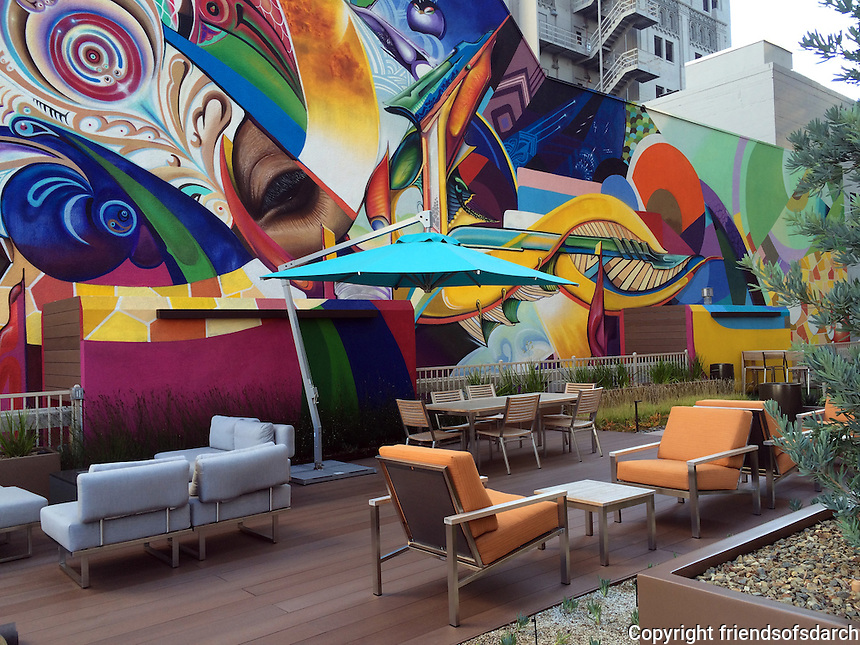 Sky Terrace In Downtown San Diego. Third Story Roof Terrace In High Rise