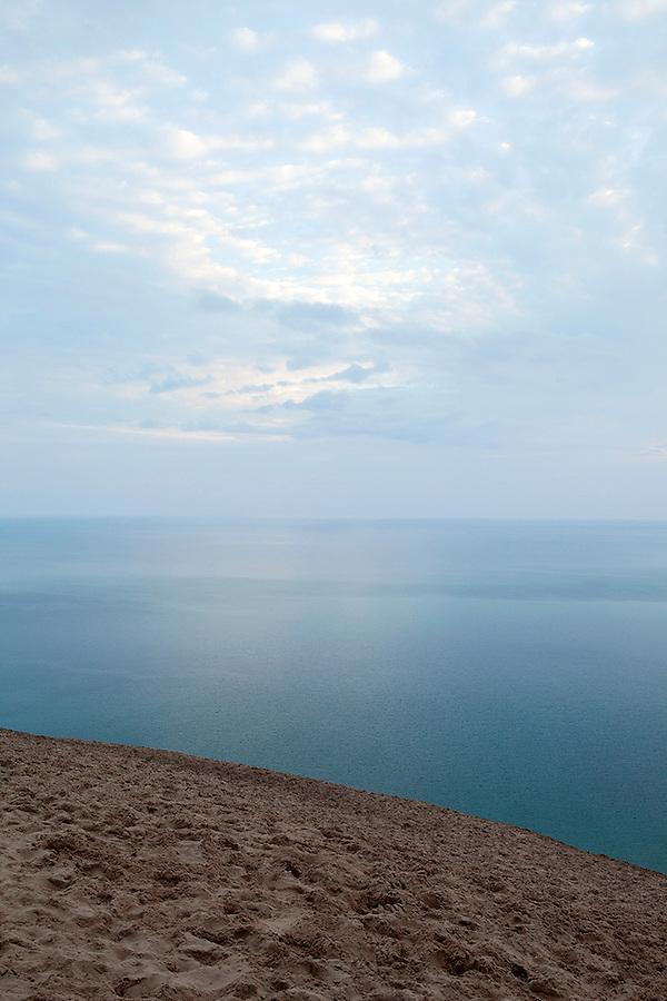 View of Lake Michigan from the giant 100-200 foot sand dunes of Sleeping Bear Dunes National Lakeshore, northwestern Michigan, MI, USA