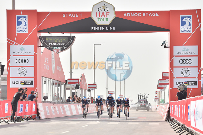 Team Novo Nordisk approach the finish line of Stage 1 of the 2019 UAE Tour, a team time trial running 16km around Al Hudayriat Island, Abu Dhabi, United Arab Emirates. 24th February 2019.<br /> Picture: LaPresse/Massimo Paolone | Cyclefile<br /> <br /> <br /> All photos usage must carry mandatory copyright credit (© Cyclefile | LaPresse/Massimo Paolone)