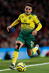 Max Aarons of Norwich City during the Premier League match at Old Trafford, Manchester. Picture date: 11th January 2020. Picture credit should read: James Wilson/Sportimage