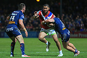 7th September 2017, Beaumont Legal Stadium, Wakefield, England; Betfred Super League, Super 8s; Wakefield Trinity versus St Helens; David Fifita of Wakefield Trinity is tackled by Morgan Knowles of St Helens