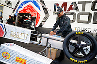 May 15, 2016; Commerce, GA, USA; NHRA top fuel driver Antron Brown prepares to fill his car with fuel in the pits during the Southern Nationals at Atlanta Dragway. Mandatory Credit: Mark J. Rebilas-USA TODAY Sports