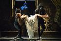 London, UK. 07.12.2012. MATTHEW BOURNE'S SLEEPING BEAUTY: A GOTHIC FAIRYTALE premieres at Sadler's Wells. Ben Bunce (Caradoc), Hannah Vassallo (Aurora), Phil Jack Gardener and Leon Moran (Henchmen) in Act III. Photo credit: Jane Hobson.
