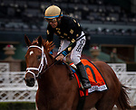 ARCADIA, CA: #7 Ce Ce and jockey Victor Espinoza win the Grade I Beholder Mile at Santa Anita Park in Arcadia, California on March 14, 2020.