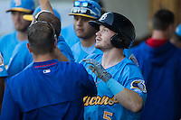 Ian Happ (5) of the Myrtle Beach Pelicans celebrates with his teammates after hitting a home run against the Winston-Salem Dash at BB&T Ballpark on April 18, 2016 in Winston-Salem, North Carolina.  The Pelicans defeated the Dash 6-4.  (Brian Westerholt/Four Seam Images)