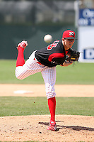 June 22nd 2008:  Pitcher Zach Pitts (33) of the Batavia Muckdogs, Class-A affiliate of the St. Louis Cardinals, during a game at Dwyer Stadium in Batavia, NY.  Photo by:  Mike Janes/Four Seam Images