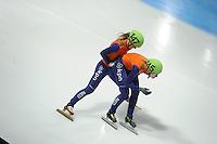 SCHAATSEN: DORDRECHT: Sportboulevard, Korean Air ISU World Cup Finale, 12-02-2012, Final Relay Ladies, Yara van Kerkhof NED (147), Annita van Doorn NED (145), ©foto: Martin de Jong