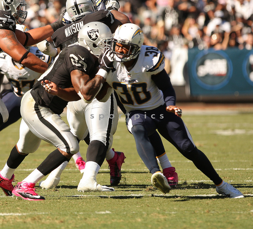 San Diego Chargers Marcus Gilchrist (38) during a game against the Oakland Raiders on October 12, 2014 at O.co Coliseum in Oakland, CA. The Chargers beat the Raiders 31-28.
