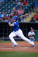 Oklahoma City Dodgers right fielder Alex Verdugo (27) at bat during a game against the Colorado Springs Sky Sox on June 2, 2017 at Chickasaw Bricktown Ballpark in Oklahoma City, Oklahoma.  Colorado Springs defeated Oklahoma City 1-0 in ten innings.  (Mike Janes/Four Seam Images)