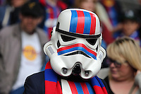 Pictured: A Crystal Palace supporter in Star Wars Stormtrooper costume and mask<br />