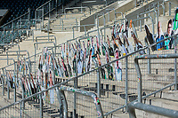 """09 April 2020, North Rhine-Westphalia, Mönchengladbach: The first """"cardboard comrades"""" - fans of Borussia Mönchengladbach - are installed on the north curve in Borussia Park by the Bundesliga football club Borussia Mönchengladbach. The fans of Borussia Mönchengladbach want to contribute to a better atmosphere at possible ghost games in the German Bundesliga. In order to spare the TV viewers and the professionals the view of the empty stadium seats, cardboard figures with the likeness of the supporters are to be set up in life-size - if desired, where the spectators also stand or sit during normal games."""