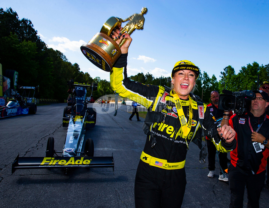 May 6, 2018; Commerce, GA, USA; NHRA top fuel driver Leah Pritchett celebrates after winning the Southern Nationals at Atlanta Dragway. Mandatory Credit: Mark J. Rebilas-USA TODAY Sports