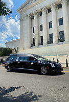 WASHINGTON, D.C. - JULY 27: Hearse for Civil Rights Leader and U.S. Representative John Lewis (Democrat of Georgia) arrives as he will lie in state at the U.S. Capitol in Washington D.C. on July 27, 2020. <br /> CAP/MPI34<br /> ©MPI34/Capital Pictures