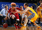 BROOKINGS, SD - MARCH 30:  Larryn Brooks #5 from Indiana University tries to control the ball as Steph Paluch #15 from South Dakota State University applies pressure in the first half of their WNIT quarterfinal game Sunday afternoon at Frost Arena in Brookings. (Photo by Dave Eggen/Inertia)