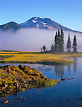 Deschutes National Forest, OR<br /> Morning sun on South Sister Mountain (10,358 ft) rising above Sparks Lake with clearing fog and an island of yellow arnica in bloom