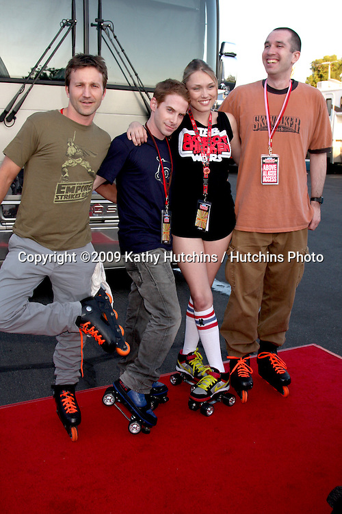 Breckin Meyer, Seth Green, Clare Grant, and Matthew Senreich  arriving at the Robot Chicken Skate Party Bus Tour Event  at Skateland, in Northridge,  CA on August 1, 2009 .©2009 Kathy Hutchins / Hutchins Photo..