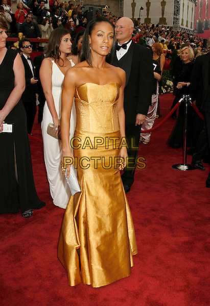 JADA PINKETT SMITH.The 79th Annual Academy Awards - Arrivals held at the Kodak Theatre, Hollywood, California, USA,.February 25th, 2007..oscars red carpet full length strapless yellow gold dress.CAP/ADM/RE.©Russ Elliot/AdMedia/Capital Pictures...