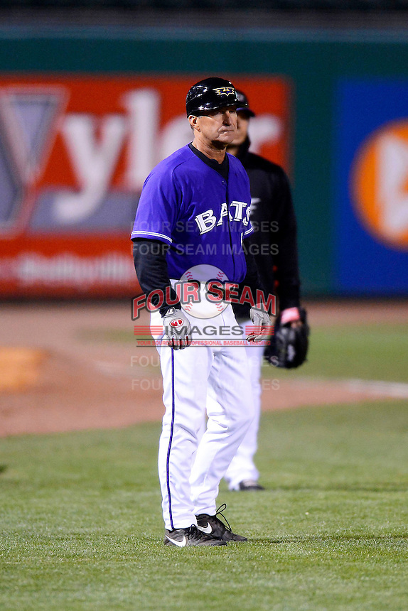 Louisville Bats manager Jim Riggleman #5 during a game against the Indianapolis Indians on April 19, 2013 at Louisville Slugger Field in Louisville, Kentucky.  Indianapolis defeated Louisville 4-1.  (Mike Janes/Four Seam Images)