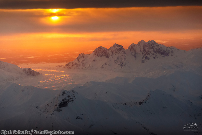 Winter landscape aerial photo of Alaska Range at sunrise with Takosha Mountains and Ruth Glacier<br /> <br /> Photo by Jeff Schultz/SchultzPhoto.com  (C) 2017  ALL RIGHTS RESERVED