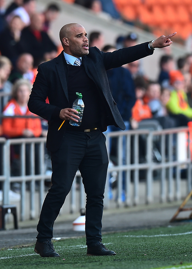 Grimsby Town manager Marcus Bignot gestures<br /> <br /> Photographer Richard Martin-Roberts/CameraSport<br /> <br /> The EFL Sky Bet League Two - Blackpool v Grimsby Town - Saturday 8th April 2017 - Bloomfield Road - Blackpool<br /> <br /> World Copyright &copy; 2017 CameraSport. All rights reserved. 43 Linden Ave. Countesthorpe. Leicester. England. LE8 5PG - Tel: +44 (0) 116 277 4147 - admin@camerasport.com - www.camerasport.com