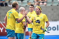 2nd February 2020; Sydney Olympic Park, Sydney, New South Wales, Australia; International FIH Field Hockey, Australia versus Great Britain; Corey Weyer of Australia and Aran Zalewski of Australia celebrate after a goal is scored to make it 3-1