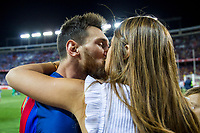 Leo Messi kiss Antonella Roccuzzo  during the match of  Copa del Rey (King's Cup) Final between Deportivo Alaves and FC Barcelona at Vicente Calderon Stadium in Madrid, May 27, 2017. Spain.. (ALTERPHOTOS/Rodrigo Jimenez) /NortePhoto.com