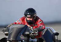 Feb 9, 2019; Pomona, CA, USA; NHRA top fuel Harley Davidson nitro motorcycle rider Randal Andras during the Winternationals at Auto Club Raceway at Pomona. Mandatory Credit: Mark J. Rebilas-USA TODAY Sports