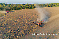 63801-13509 Combines harvesting soybeans in fall-aerial  Marion Co. IL