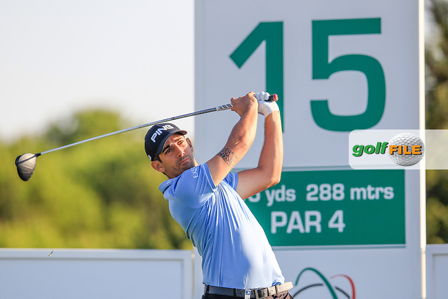 Matthieu Pavon (FRA) on the 15th during the 1st round of the 2017 Portugal Masters, Dom Pedro Victoria Golf Course, Vilamoura, Portugal. 21/09/2017<br /> Picture: Fran Caffrey / Golffile<br /> <br /> All photo usage must carry mandatory copyright credit (&copy; Golffile | Fran Caffrey)