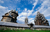 Russia's most famous wooden church is at the center of an vast open air museum of traditional Russian architecture. The church was always on this place, but most of the other buildings have been brought here from all parts of the country.