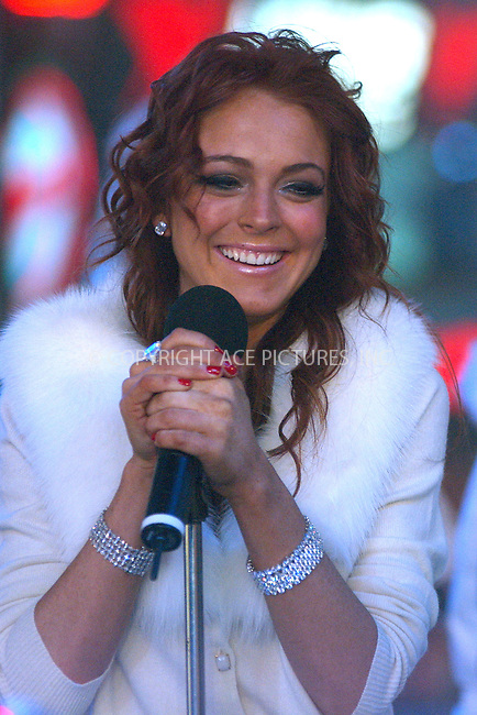 WWW.ACEPIXS.COM . . . . . ....NEW YORK, DECEMBER 31, 2005....Lindsay Lohan at the Times Square New Year's Eve 2005 Celebration.....Please byline: ACE006 - ACE PICTURES.. . . . . . ..Ace Pictures, Inc:  ..Alecsey Boldeskul (646) 267-6913 ..Philip Vaughan (646) 769-0430..e-mail: info@acepixs.com..web: http://www.acepixs.com