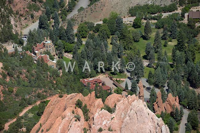 Aerial of Glen Eyrie Castle Colorado Springs
