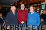 Ned Browne, Martin Ferris TD and Mike Beasley (Chairman) at the meeting about the ban on fishing in the Cashen river in Ballyuff at Purcells Bar on Thursday night.