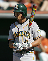 Baylor 3B Shaver Hansen prepares to bat against Texas on May 3rd, 2008. Photo by Andrew Woolley / Four Seam Images
