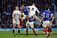 Antoine Dupont of France claims the ball in the air. Guinness Six Nations match between England and France on February 10, 2019 at Twickenham Stadium in London, England. Photo by: Patrick Khachfe / Onside Images
