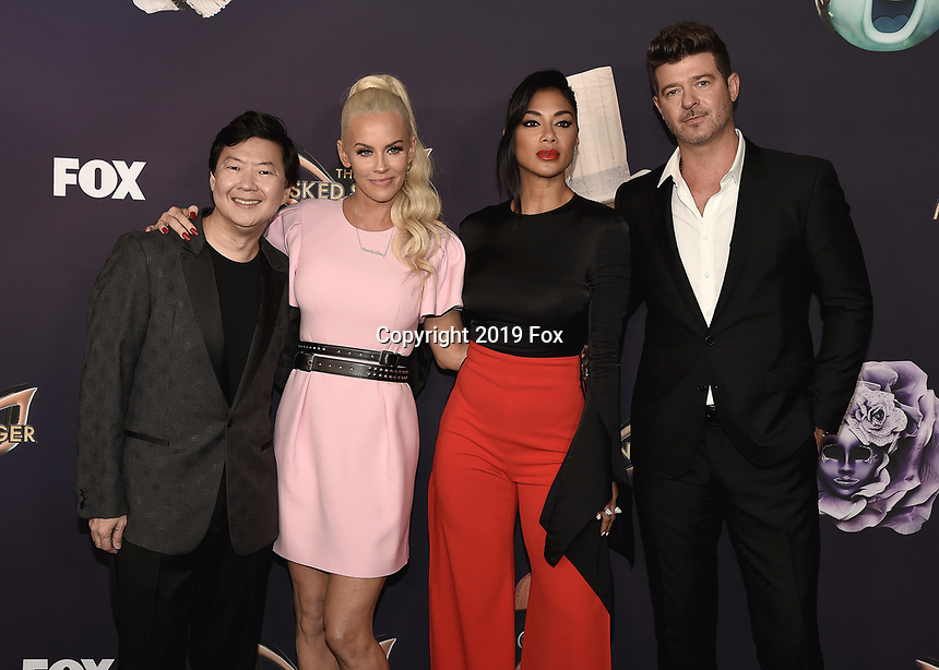 "BEVERLY HILLS  - SEPTEMBER 10:  Ken Jeong, Jenny McCarthy, Nicole Scherzinger and Robin Thicke attend the season two premiere event for FOX's ""The Masked Singer"" at The Bazaar at the SLS Beverly Hills on September 10, 2019 in Beverly Hills, California. (Photo by Scott Kirkland/FOX/PictureGroup)"
