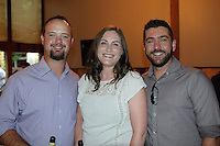 Justin (from left) and Melissa Cleaveland visit with Derek Miller during the Red, White and Baby Blue event benefitting the Jackson Graves Foundation hosted at The Garden Room on June 24.