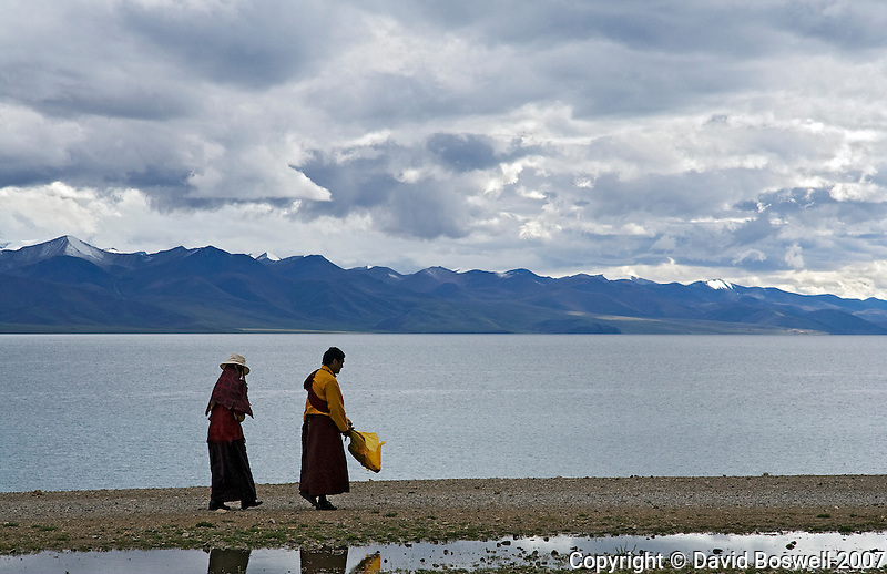 Pilgrim on the short Kora at Namtso Lake in central Tibet.  Namtso is the highest saltwater lake in the world and sacred to Tibetan buddhists.