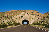 Park road and tunnel, Chisos Mountains, Big Bend National Park, Chihuahuan Desert, West Texas, USA