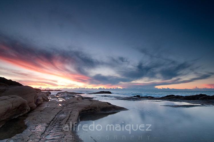 Sunrise at Cabo de las Huettas coast, Alicante, Spain
