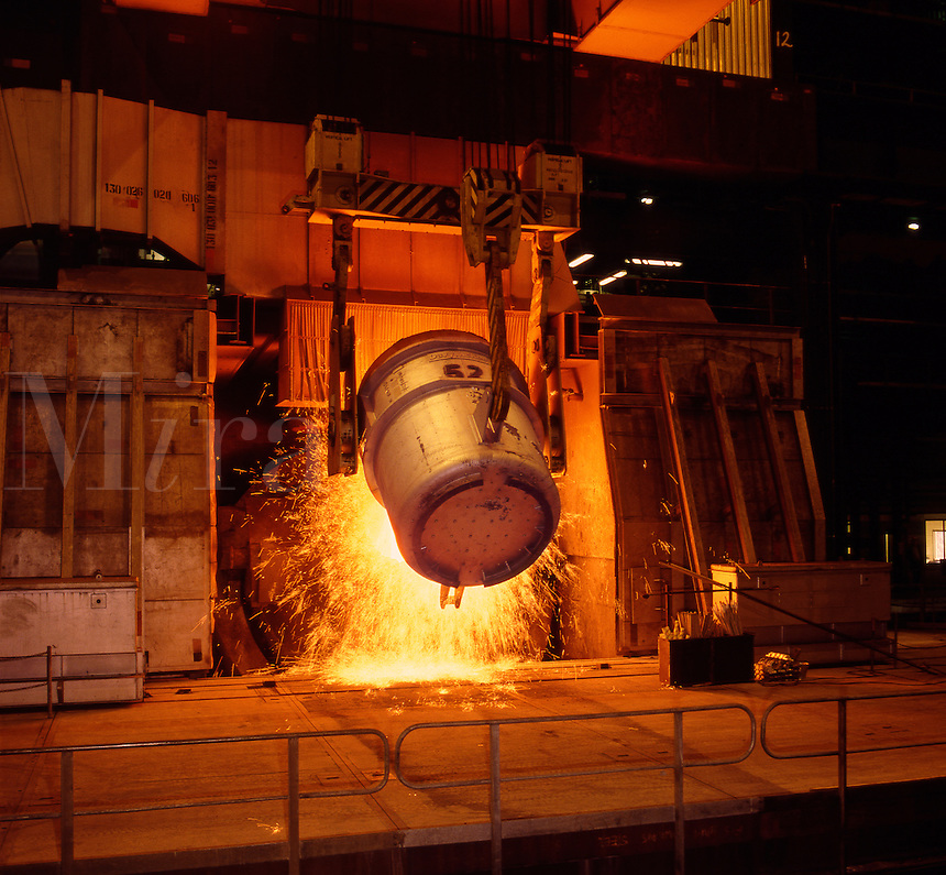 Charging  steel furnace from crane mounted vat.